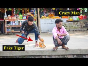Fake Tiger Vs Man Prank Video – So Funny Man Reaction with Fake Tiger | 4 Minute Fun